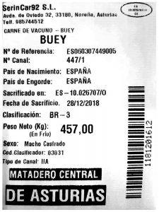 certificado carne de buey
