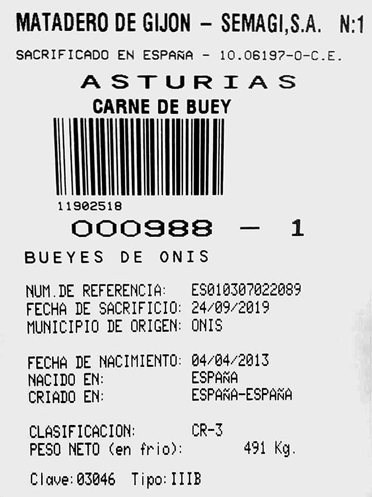 La Llariega, Certificado carne de buey, 2019 09